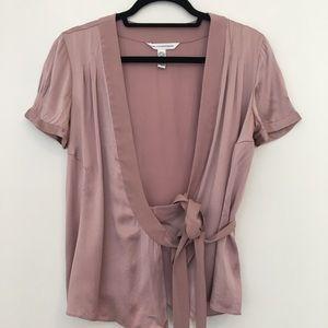 Diane Von Furstenberg mauve Silk Wrap Top